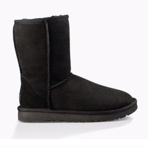 UGG Classic Short Boot Black Suede Leather Sheep 7